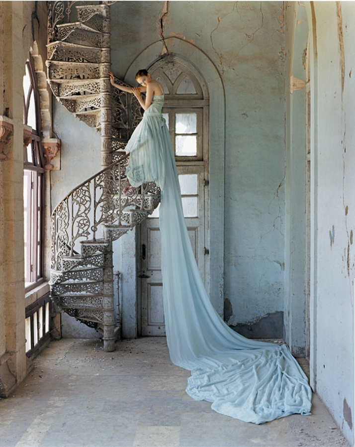 © TIM WALKER PICTURES, Lily Cole and spiral staircase, Whadwan, Gujarat, India, 2005, British Vogue, Photo © 2007 Tim Walker. All rights reserved.