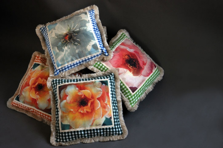"cushion covers with prints fromTakis Tsadilis ""flowers"" photo series  / © Takis Tsadilis"