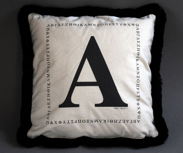 "cushion covers with prints from Takis Tsadilis ""lettering and Ancient Greece"" photo series / © Takis Tsadilis"