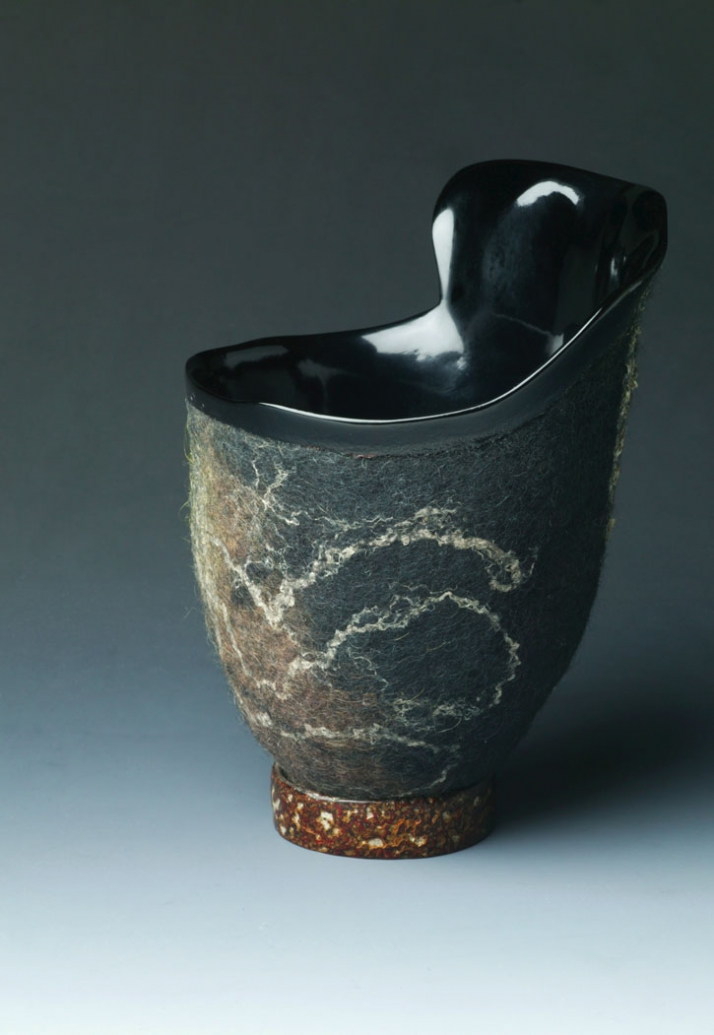 Winged Vessel cup. Felt made by Jorie Johnson, urushi lacquer by Clifton Monteith. Japan and United States, 2004. Wool, bast fibers, leaf, urushi lacq