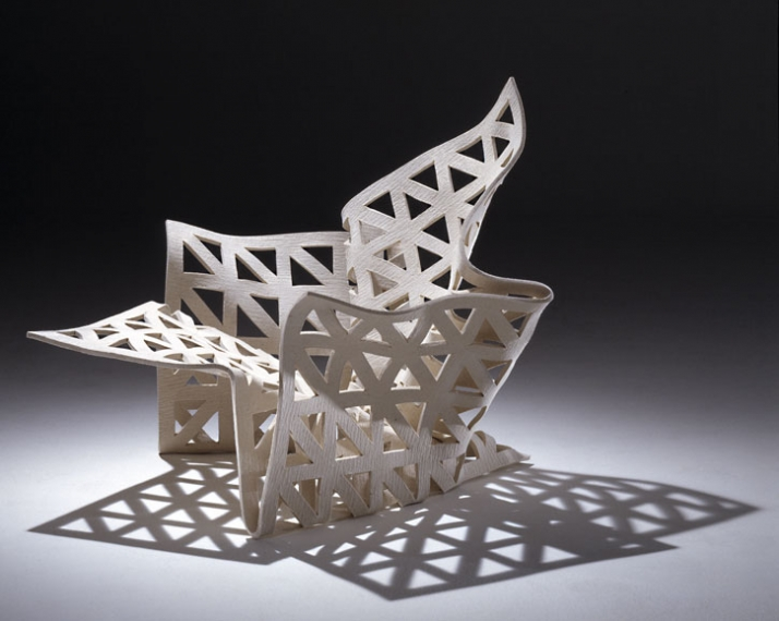 Bless You chair. Designed and made by Louise Campbell. Denmark, 1999. 10mm technical felt and 750 sheets of gelatin.