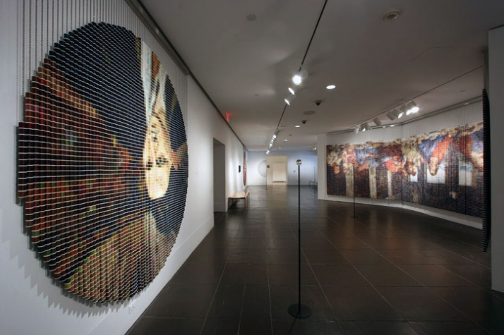 """After Picasso,"" 2006,  5,024 spools of thread, stainless steel ball chain and hanging apparatus, clear acrylic viewing sphere, metal stand (104""-122"""