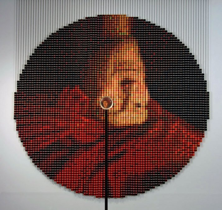 """After van Eyck,"" 2006,  5,024 spools of thread, stainless steel ball chain and hanging apparatus, clear acrylic viewing sphere, metal stand (104""-122"