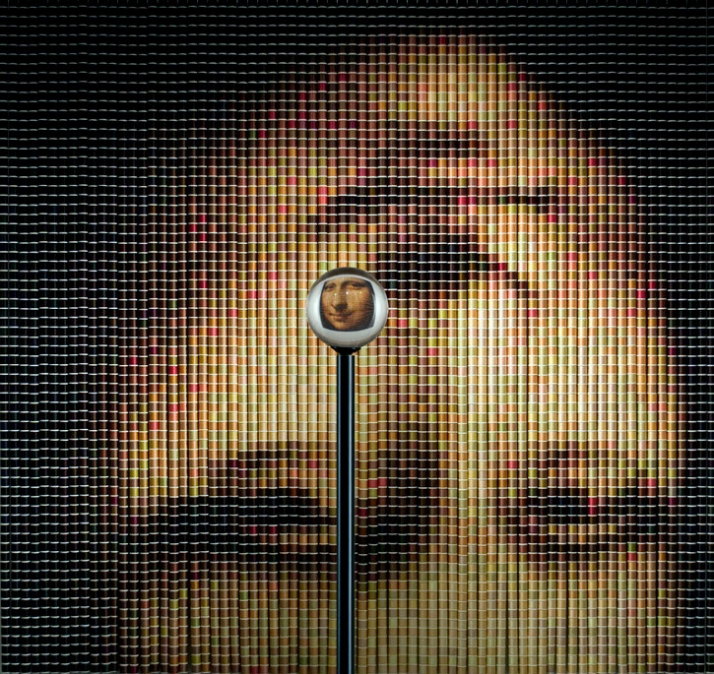 """After The Mona Lisa"" re-creation of Leonardo da Vinci's Mona Lisa , 2005,  2, 85"" h x 86""w, 5,184 spools of thread, stainless-steel ball chain and ha"