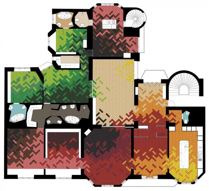 coloured floor plan © Tham & Videgård Hansson Arkitekter