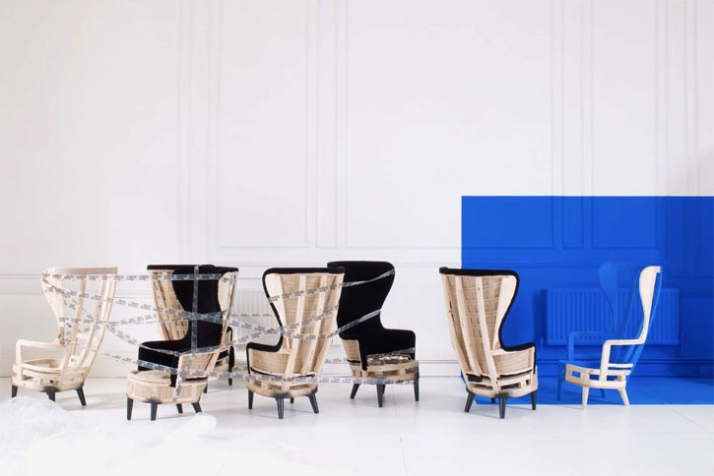Wingback chair & footstool by Tom Dixon