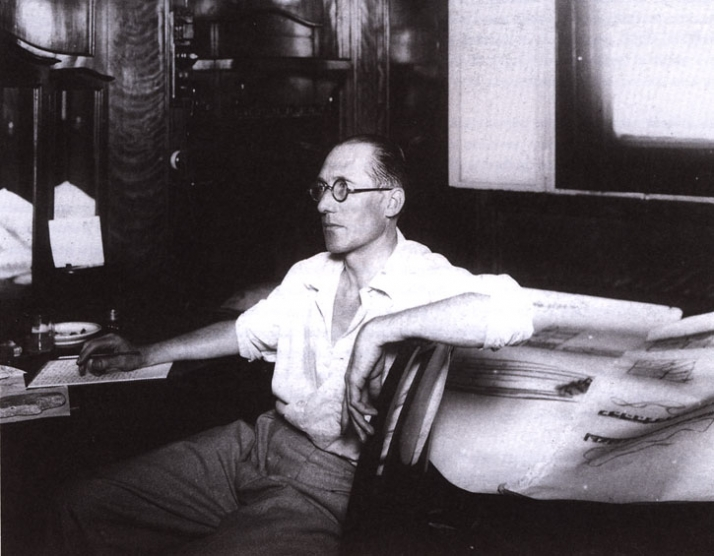 Le Corbusier aboard the Lutéria, between 10 and 22 December 1929, upon his return from South Africa. It is during his trip that he fine-tuned the manu