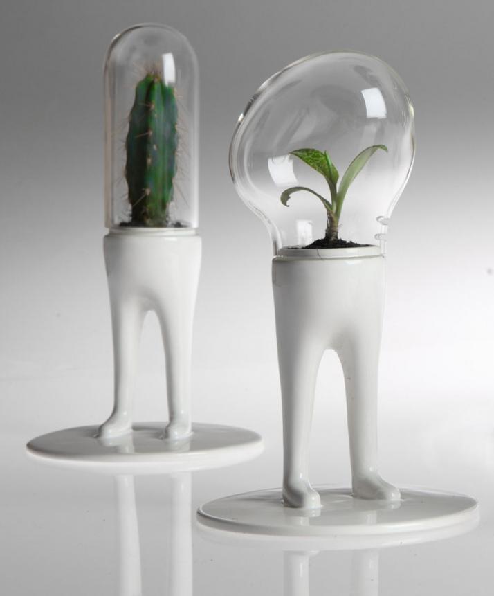 photo © Lorenzo VitturiDOMSAI WHITE / Matteo Cibic, 2009 one of a kind  ceramic, pirex, cactus / 14x14x25cm Retail price / 100€