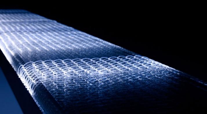 "MIST BENCH by Nicolas Gwenael. Textile collaboration: Reiko SUDO. ""SENSEWARE"" TOKYO FIBER 09. Milan design week"