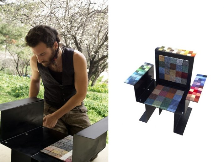 (left) portrait of Zaxos Stathopoulos by Kyriaki Dovinou |  (right) Brutal Chair, Metal, tapestry | (x: 60cm, y: 40cm, z: 70cm) | 2008