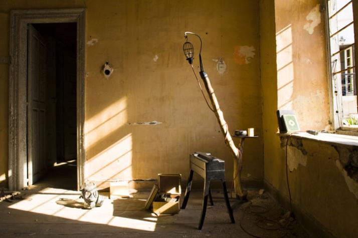 Cabinet | G.R.P., leather | (x: 55cm, y: 40cm, z: 66cm) | 2007 / Reading Companion | eucalyptous timber, ready made, metal | (x: 70cm, y: 40cm, z: 170
