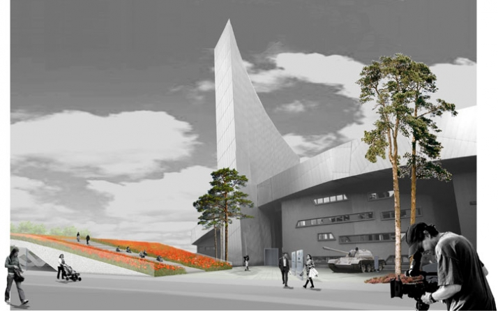Proposed initial external design concept. Imperial War Museum North from Trafford Wharf Road