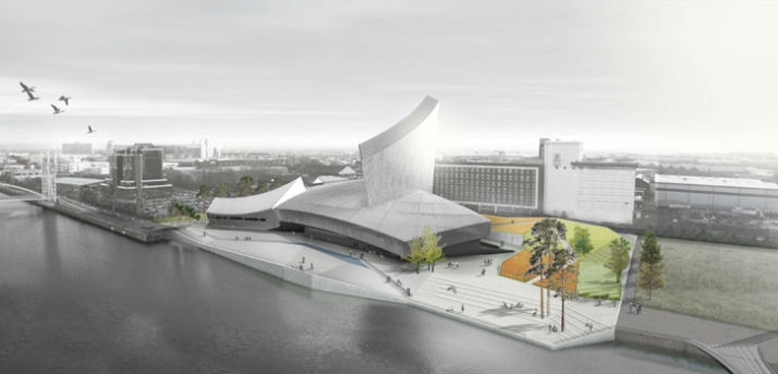 Proposed initial external design concept. Imperial War Museum North from MediaCity:UK