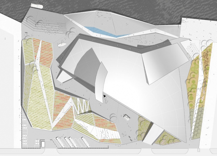 Proposed initial external design concept. Imperial War Museum North siteplan.