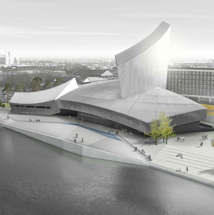 Proposed initial external design concept. Imperial War Museum North from MediaCity:UK (DETAIL)