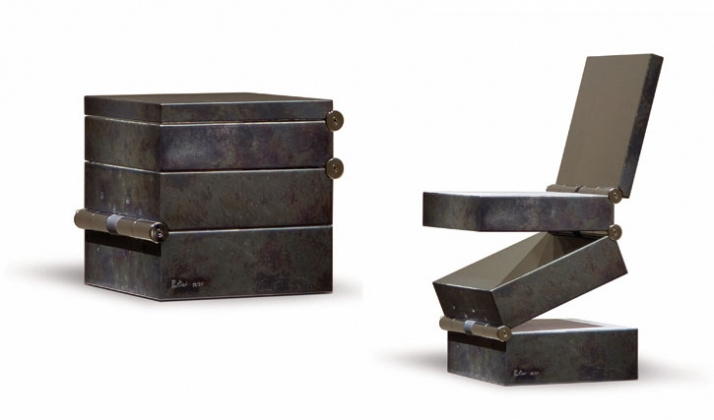 Ron Arad, Box in Four Movements, 1994 Polierter Edelstahl und patinierter Stahl 42 x 42 x 42 cm (geschlossen) Edition von 20 Courtesy Designer's Galle