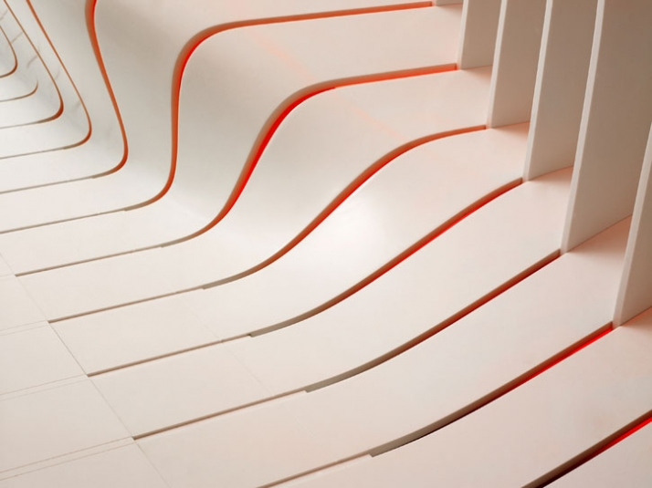 technical detail// distorted an twisted sheet of DuPont Corian  // photo © Leo Torri