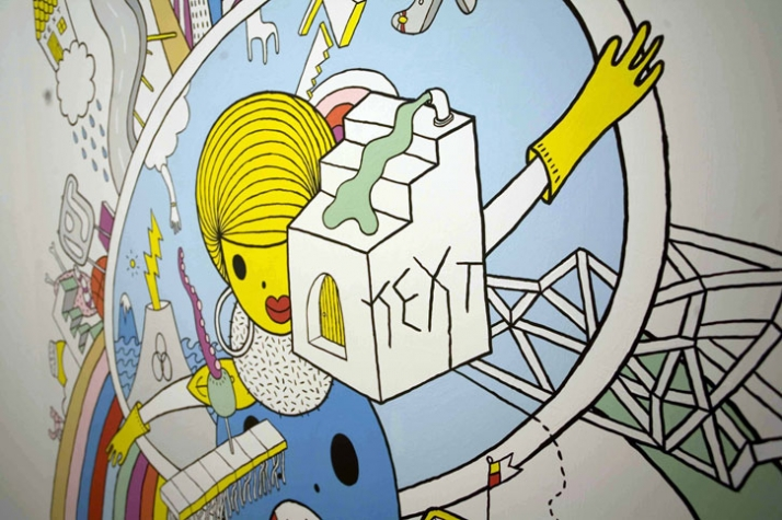 conwordum, 140x140cm, acrylic on wood /// detail photo © littll // Courtesy The Breeder