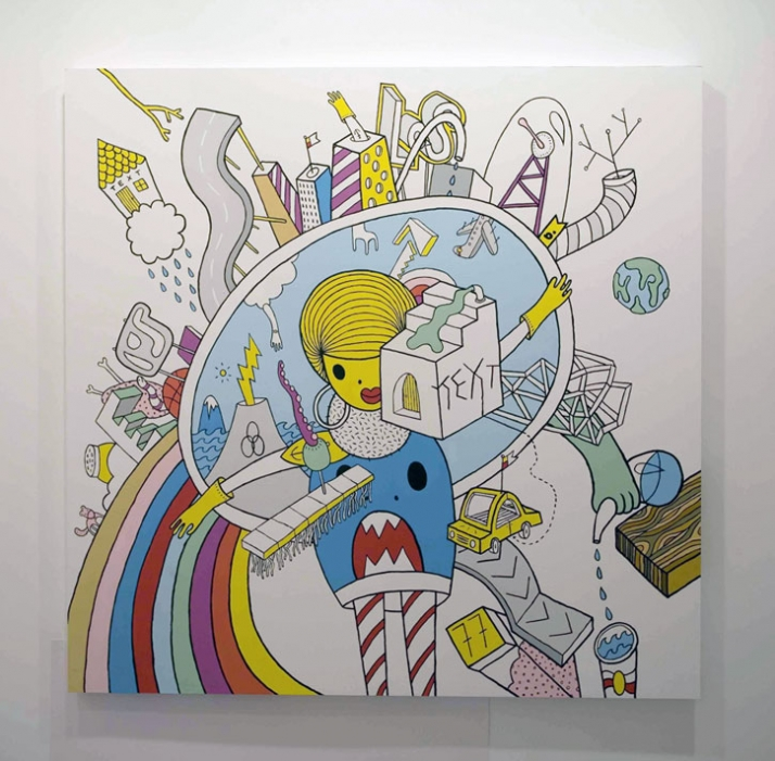 conwordum, 140x140cm, acrylic on wood /// photo © littll // Courtesy The Breeder