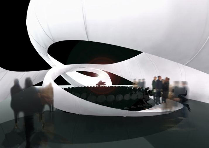 JS Bach / Zaha Hadid Architects Chamber Music Hall at Manchester Art Gallery for Manchester International Festival 3D rendering // courtesy of Zaha Ha