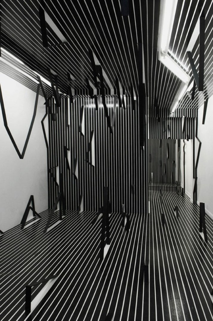 Esther Stocker, What I don't know about space, 2008, installation view, Museum 52,      London, Courtesy: Museum 52, London