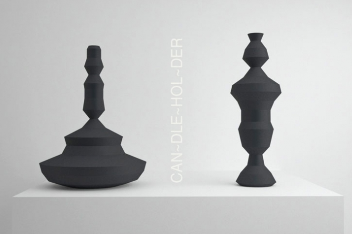 candleholder /// material: SLS polyamide with black soft touch finish /// dimensions: 275 x 92 mm