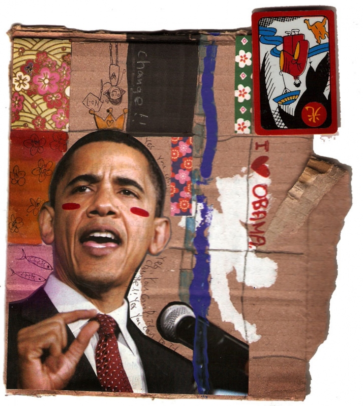 LUV OBAMA //  January 2009 mixed media // 15x26 cm