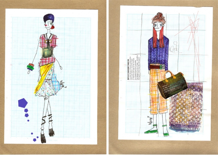 MARC Jacobs (left)  and street fashion (right) illustrations
