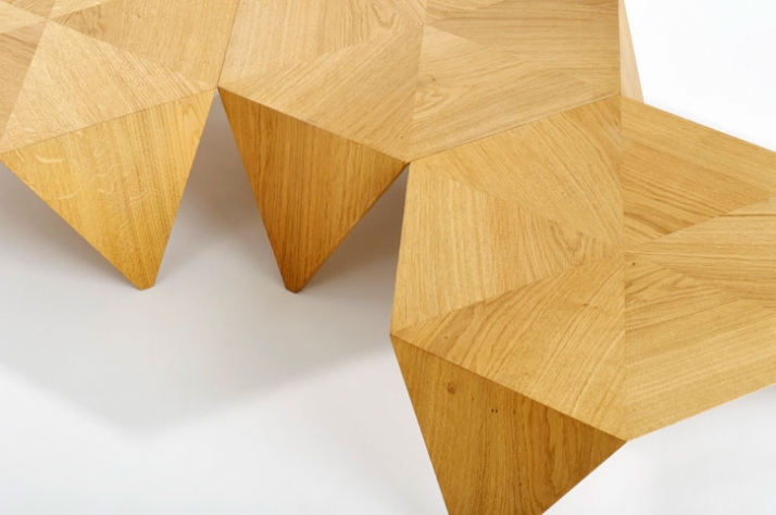 Tomoko Azumi (1966, Japan)Set of three stacking coffee tables  Manufactured by Benchmark 52 x 52 x 22 cm