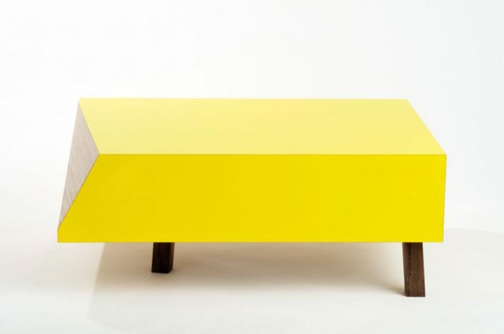 David RestorickCut corner [Coffee Table] Yellow Gloss Formica / Birch Plywood / American Black Walnut Legs 35 x 90 x 67 cm (h x w x d)