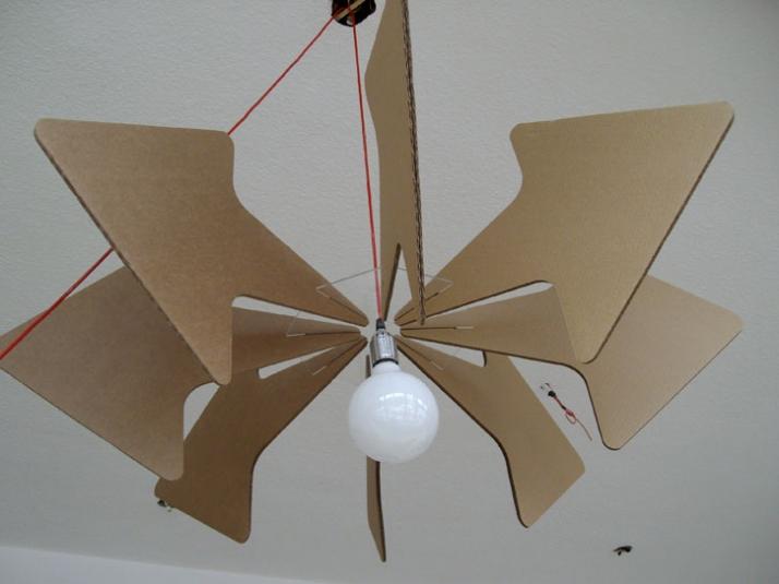 Cardboard hanging lamp: diameter 100cm x H 44 cm