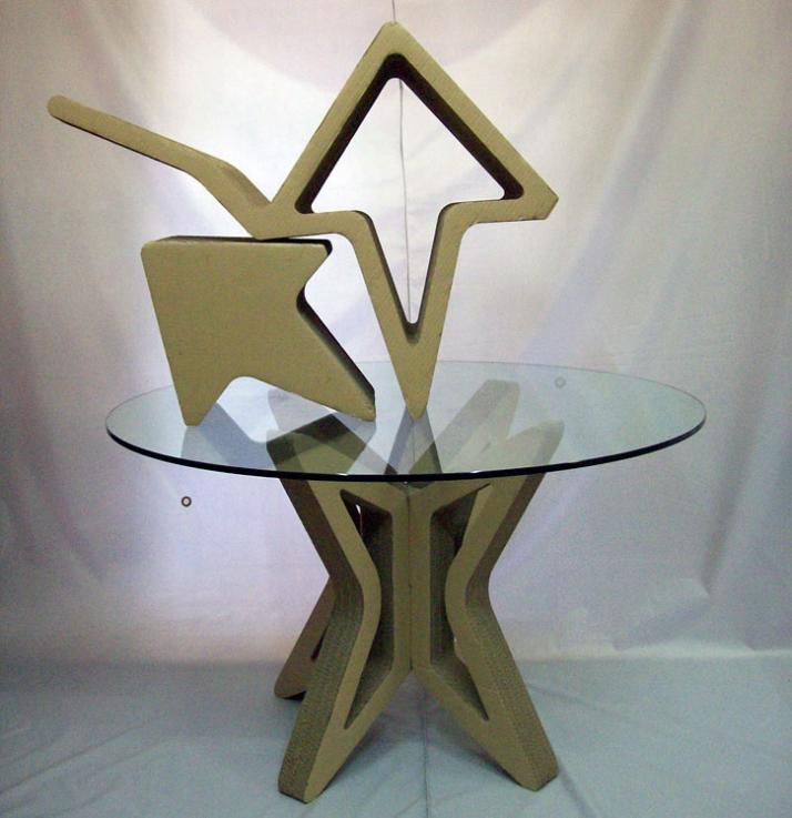 Gardboard chair: H 90cm x L 45cm x W 45cmGardboard table: base 74cm x 74cm and 120 cm diameter glass top  Gardboard stool: H 20cm x L 34cm x W
