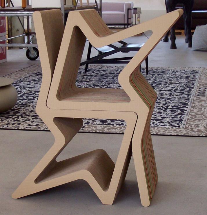 Gardboard chair: H 90cm x L 45cm x W 45cm