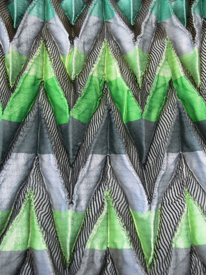 Neon green jacquard shibori pleats