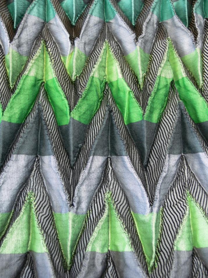 Neon green jacquard shibori pleats