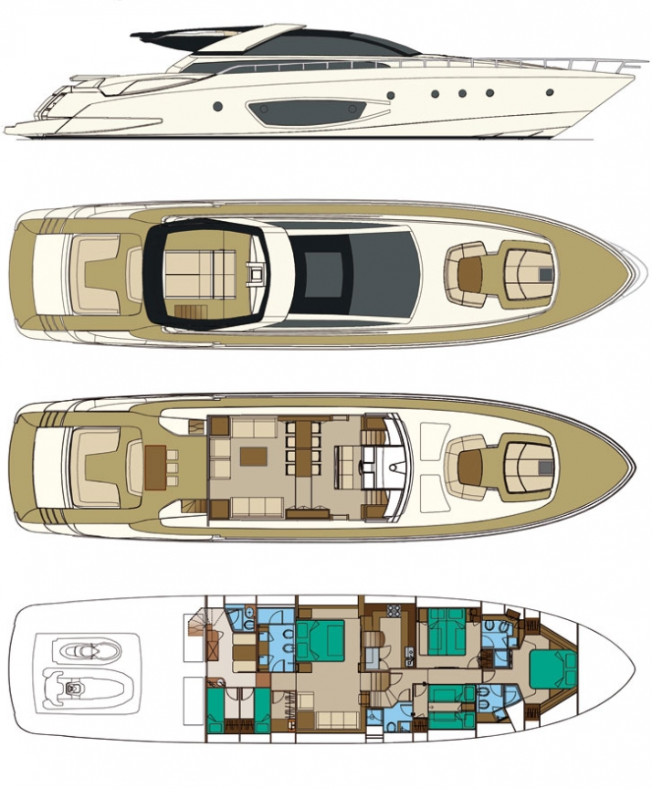 The sections of the new 86'DOMINO by RIVA Courtesy of RIVA yacht