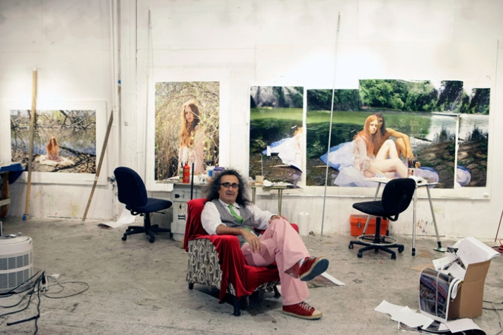 Yigal Ozeri in his studio in Queens, NY.