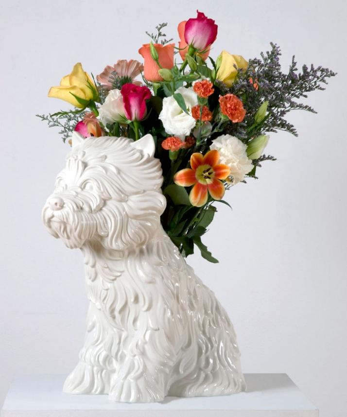 Jeff Koons Puppy Vase, 1998 White glazed porcelain vase 44.5 x 44.5 x 26.7 cm Edition of 3000 Courtesy of Gagosian Gallery