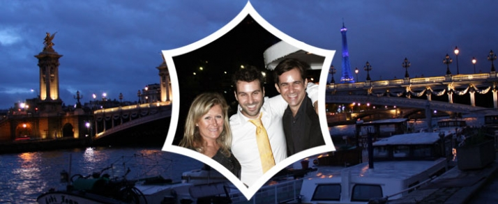 Lia Riva, Costas Voyatzis & Stephane Gerchel  on the Seine boat dinner, Paris 2008