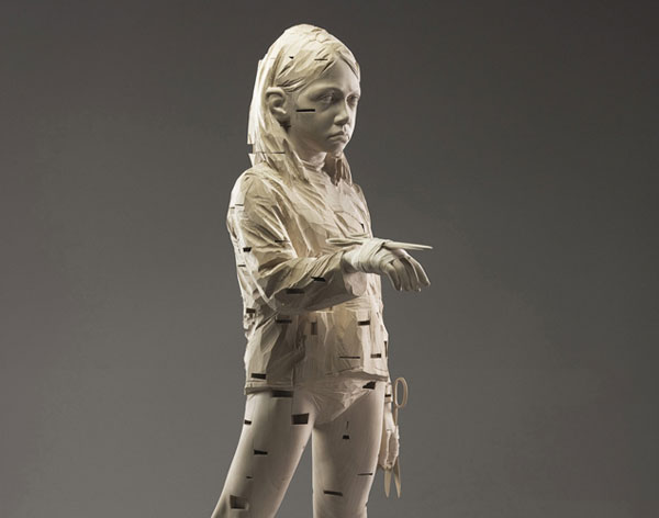 Married to myself,  2008, © Gehard Demetz wood, 175 x 44 x 312 cm Courtesy Galleria Rubin, Milano Photo by Egon Dejori