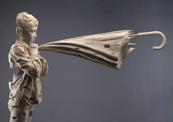 I hear the spirit while I whisper, 2007, © Gehard Demetz wood, 166x105x37,5 cm Courtesy Galleria Rubin, Milano Photo by Egon Dejori