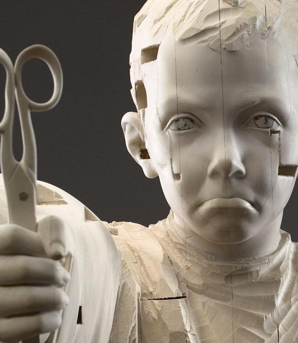 You have stolen my silence (detail) , 2006, © Gehard Demetz wood, 167,5x55x38 cm Courtesy Galleria Rubin, Milano Photo by Egon Dejori