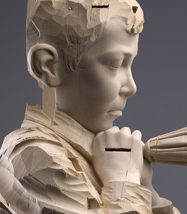 I hear the spirit while I whisper (detail) , 2007, © Gehard Demetz wood, 166x105x37,5 cm Courtesy Galleria Rubin, Milano Photo by Egon Dejori
