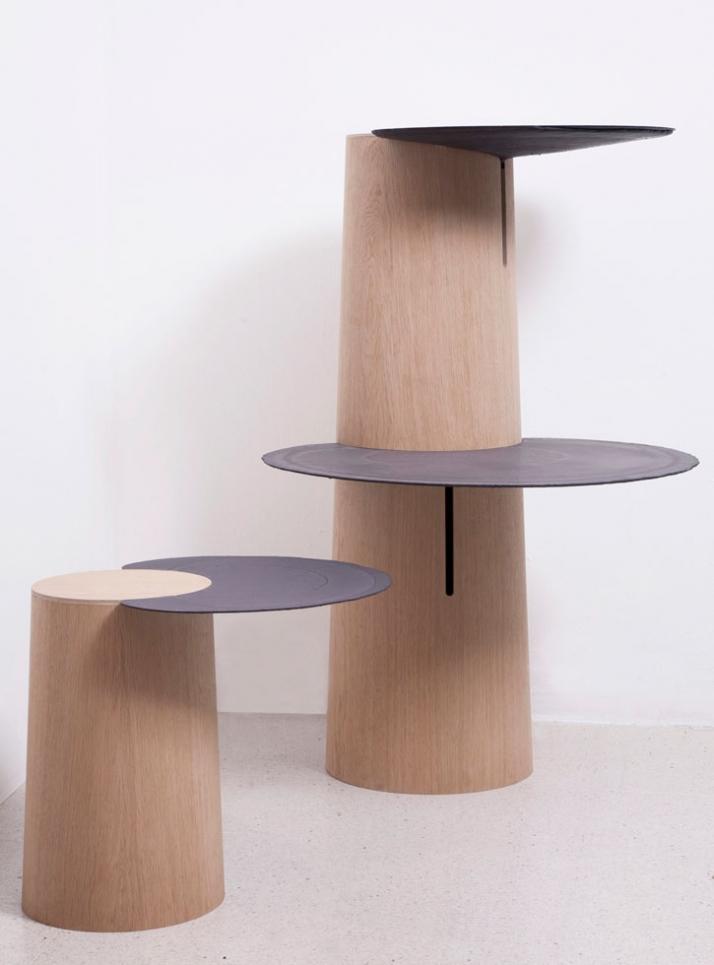 DOWSIDE UP shelf / 2009 Materials: Jesmonite bio-resin, oak veneered laminated plywood Dimensions of this piece (LxWxH): 660x640x1400mm