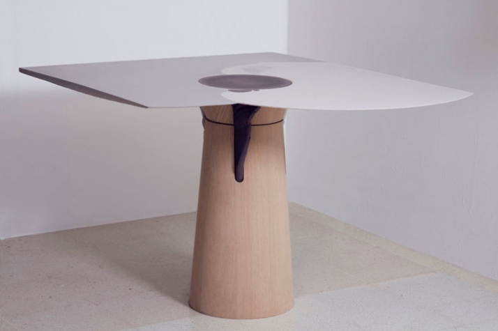 DOWSIDE UP table / 2009 Materials: Jesmonite bio-resin, oak veneered laminated plywood Dimensions of this piece (LxWxH): 1400x1100x740mm