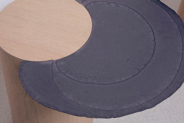 DOWSIDE UP shelf (detail) / 2009 Materials: Jesmonite bio-resin, oak veneered laminated plywood Dimensions of this piece (LxWxH): 660x640x1400mm