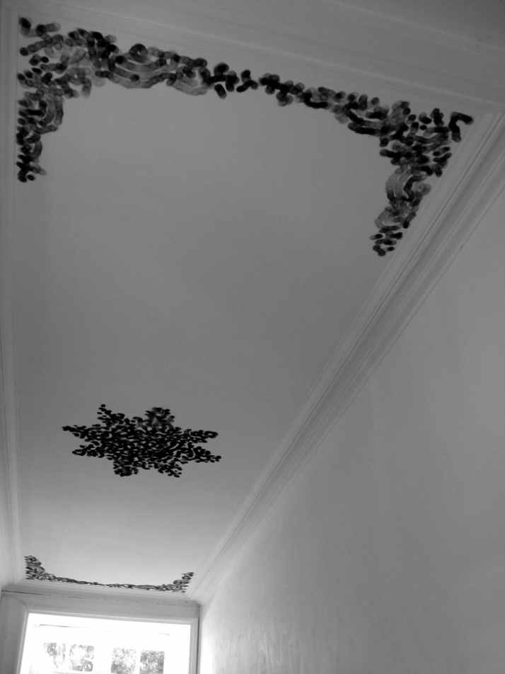 Untitled (Rosace & ornements) Flame of the ligther on ceiling Delko Studio Rennes - France 2008 (photo : Delko Studio)