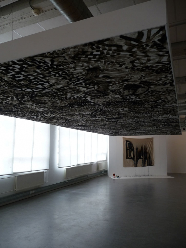 Symphonie Flame of the lighter on ceiling MU Eindhoven - The Netherlands 2008 (Background : Navid Nuur) (photo : F. Morel)