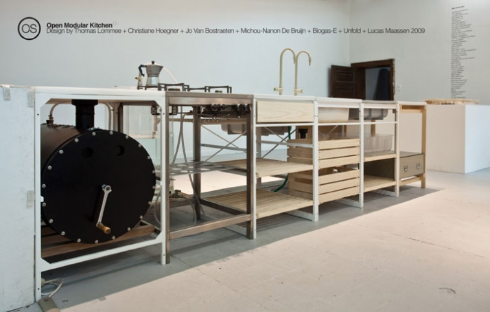 Open Modular kitchen by Thomas Lommee,  part of Bits n' Pieces exhibition // photo by Z33