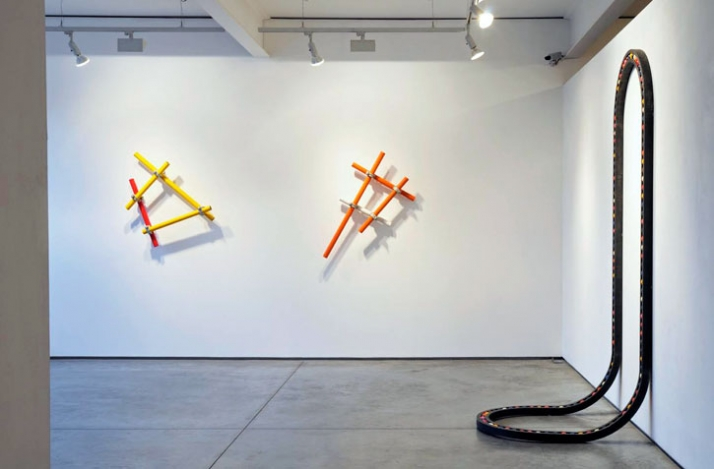 photo © Paul Tucker 2009 // Installation shot, left - right: Shh, It's Yellow Don't Tell Red 2009, Scaffolding, fittings, paint, 118 x 74 x 20 cm  Sh